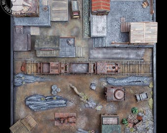 Malifaux Railway Station, a 3D playing board for Malifaux. A one-of-a-kind original playing board created and painted in our workshop.
