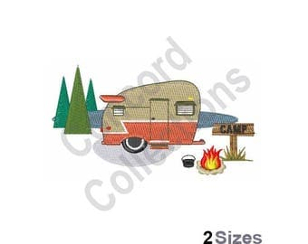 Camping Trailer Machine Embroidery Design
