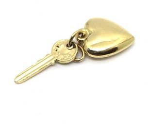 Vintage 14 Karat Yellow Gold Heart and Key Charm #1593
