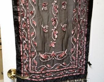 Purple on black burnout velvet, with fringe