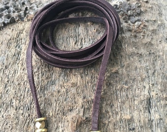 Brown Leather Wrap Choker