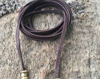 Brown Leather Wrap Choker