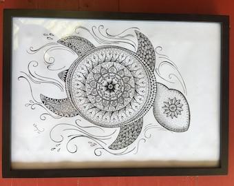 Sea turtle - zentangle