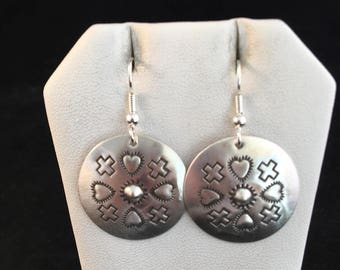 Native American Navajo Sterling Silver Hand Stamped Dangle Earrings