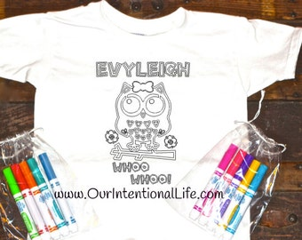 Girls Personalized Owl Coloring Shirt With Markers