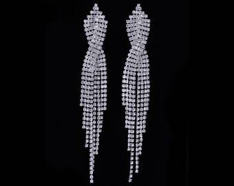 Anna Clear Crystal Fringe NPC Bikini Fitness Competition Earrings