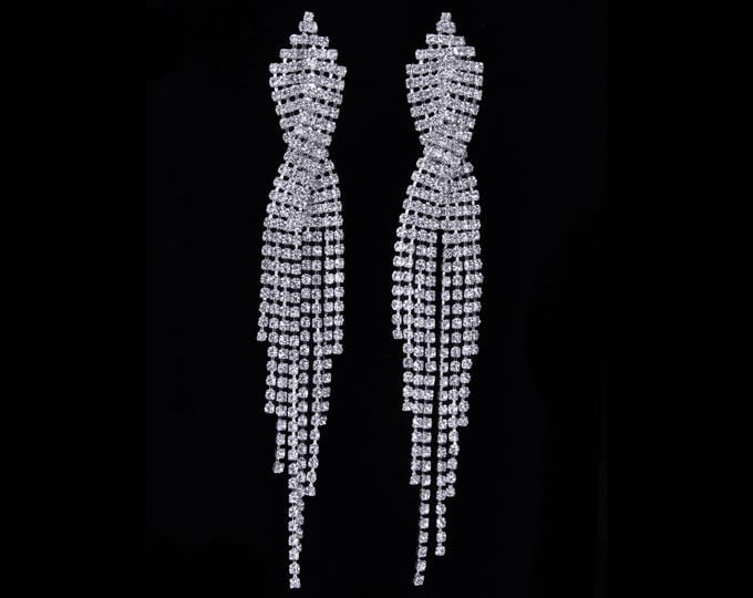 Anna Clear Crystal Fringe NPC Bikini Fitness Competition Earrings