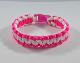 Hot Pink and White Breast Cancer Awareness Paracord Bracelet: Survival, Camping, Hunting, Outdoors