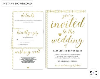 GOLD Wedding Invitation Template, Gold Wedding Invitation, Wedding Invitation Printable, Metallic Wedding Invitation,