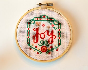 Joy Ornament Cross Stitch, Hoop Art, Christmas