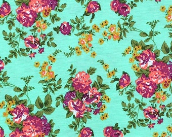 Chartreuse Purple Floral on Aqua Knit Fabric