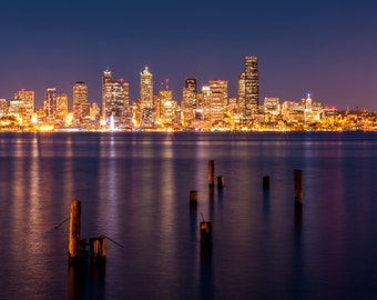 West Seattle Pilings at Night landscape photography print