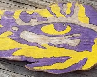 Distressed Wooden LSU tiger eye logo