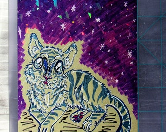 Tiger Cub  and Stars Holographic Print