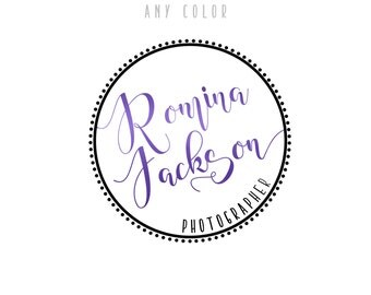 Any color! Circular Photography logo - Circle hand lettering Logo & matching Watermark, Modern Minimal style - Premade Photographer Logo