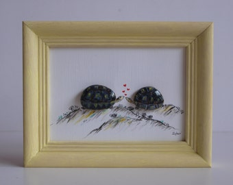 Gift idea for everyone, birthday gift, Valentine's day, mother's day gift, painted with oil paint 3D-Steinbild: in love with turtles