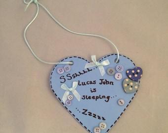 Personalised Baby Sleeping Sign Baby door sign Baby door hanger Baby girl gift Baby boy gift