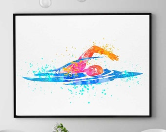 Swimming Pool Art, Swimming Gift, Watercolor Print, Sports Decor, Swim Wall Art, Home Decor Wall Art (N042)