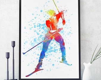 Cross Country Skiing Sports Decor Ski Watercolor Print Sport Prints Wall Art Decor Christmas Anniversary Gift Nursery Decor Room Art (N017)