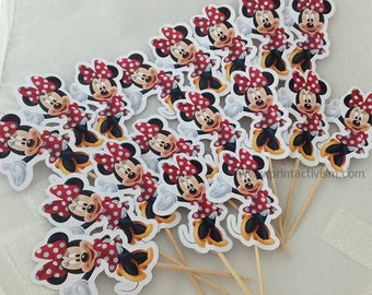 Minnie Mouse Cupcake Toppers with Stick Topper with stick Set of 18 Custom Made