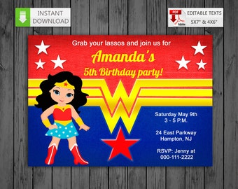 Printable invitation Wonder Girl in PDF with Editable Texts, Super Girl WW Invitation, edit and print yourself! - Instant Download! N2