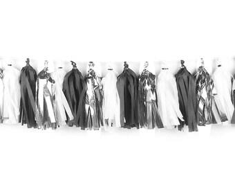 Silver + Black + White | Tassel Garland | Metallic Tissue Tassel Garland | FOLI + LO