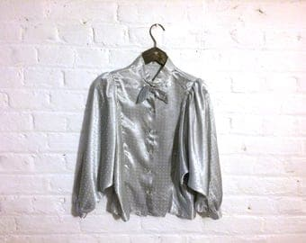 Vintage 1980s Silver Shirt Blouse with Bow Collar and Batwing Sleeves - UK 10 EU 38 US 8