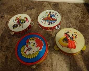 4 Vintage Tin Toy Tambourine Noisemakers (gypsy, clown,dancers)