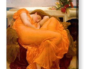 "Frederic Lord Leighton ""Flaming June"" Canvas Art Repro 8""x8"", 10""x10"", 16""x16"", 20""x20"", 24""x24"", 30""x30"", 44""x44"""
