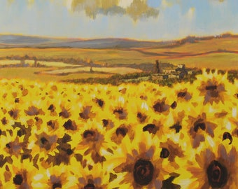 "Sunflowers yellow vivid color, 24"" 24"", acrylic technique original painting by Antonello Plantamura, Express Shipping"