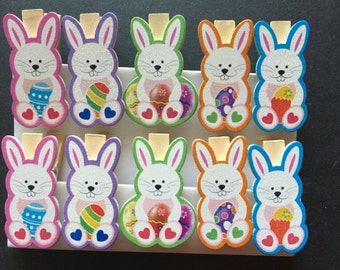 10pcs/pack free shipping Bunny Wooden Paper Clip | Wood Peg |Wooden Craft Decration|Photo Clip/Memo Clip/Wooden Clips/Easter Party Favors