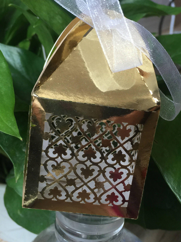Laser Cut Packaging Box100pcs Gold Wedding Party Gift Boxwedding