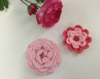Crochet flowers, crochet appliqués, stocking stuffers,flower appliqués, embellishments, Set of two Flowers