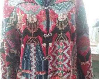 Vintage Women's Knit Cardigan with Royal Looking Ladies!