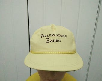 Rare Vintage YELLOWSTONE BANKS Embroidered Spell Out Cap Hat Free size fit all Made in USA