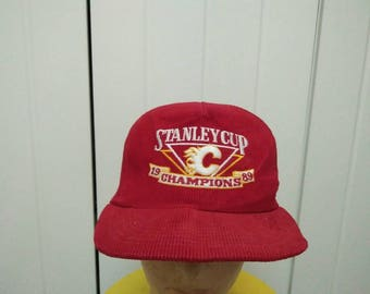 Rare Vintage 89' STANLEY CUP CHAMPIONS Embroidered Spell Out Cap Hat Free size fit all