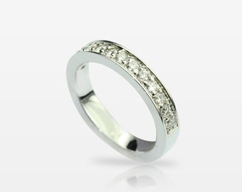 Anniversary/ Memory ring Wedding band with 0.28ct diamonds 750 kt White gold