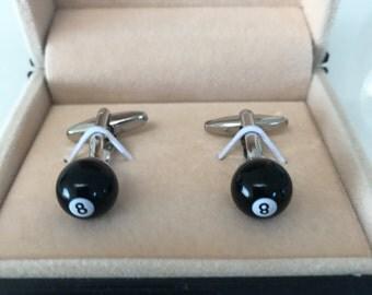 Mens 8 Ball snooker Pool Cufflinks - Ideal gift - wedding present for best man