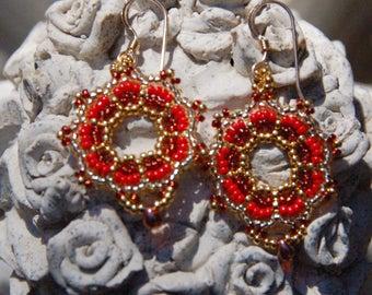 Red Blossom Earrings