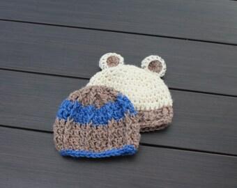 Adorable duo, Baby Hats, Two hats, Newborn hat, Bear hat, Boy hat, Baby boy hat, Crochet hat