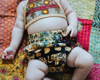All SIZES, Patchwork Kantha Bloomers, Hippie Baby, Diaper Cover, Hippie Bloomers, Bohemian, Baby Shower Gift, Kantha Baby, Cloth Diaper
