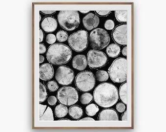 Tree rings print, Firewood Print, Woodpile Printable Art, Black White Nature Photo, Minimillist print, digital download, scandi rustic print