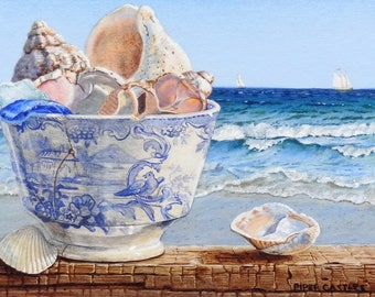 Ocean and Shells Greeting Card,  Shells and Beach Note Card, Blue and White Handleless Tea Cup, Blank Card, Fine Art Card, Sea Glass Card