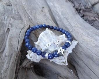 EXPRESS SHIPPING,Dark Blue Bracelet,Blue Agate Bracelet,Star Symbol Bracelet,Stretch Bracelet,Friendship Bracelet,Gift for Her,Valentine's