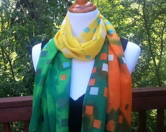 Summer scarf. Spring Scarf. Colorful art scarf. Gift idea.