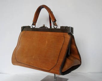 vintage Gladstone Doctors Bag pigskin tan leather