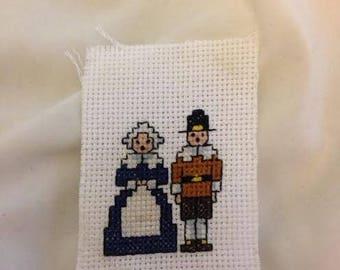 Pilgrim Couple Finished Cross Stitch