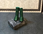 Blythe Doll ugg style boots  longer length  green glitter boots for Blythe