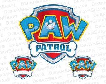 Dogs Paw Cartoon Logo SVG Files, Paw Patrol Logo SVG Files, Cartoon Cut Files, Paw Patrol SVG, Dogs Paw Split Svg File, Instant Download