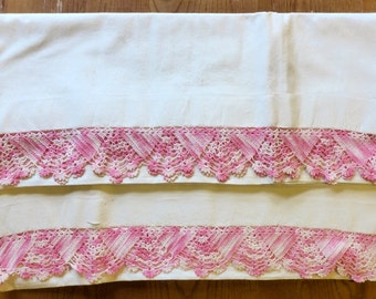 Set of 2 Vintage hand made pillow cases with hand crocheted edging